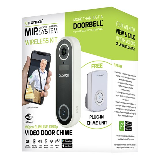 MIP M6Pro Wifi 1080p Slimline Video Doorbell with Plugin Chime Unit kit